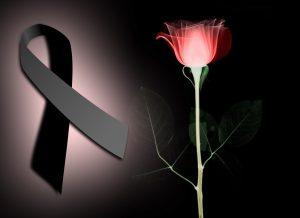 moños y flores de luto