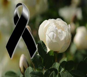 Moños de luto con una rosa blanca