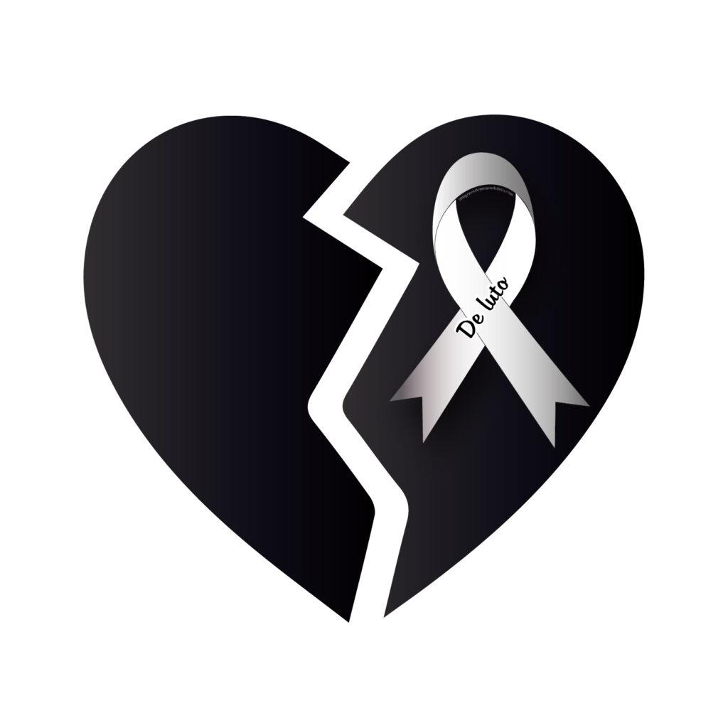 lazo de luto en corazon blanco