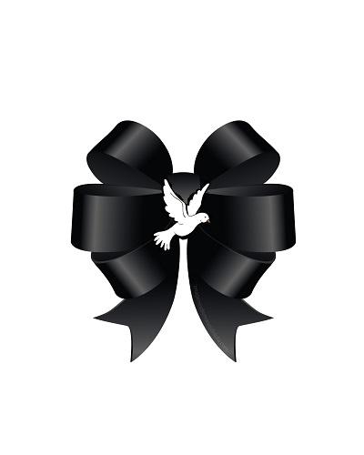 Moño de luto negro con paloma