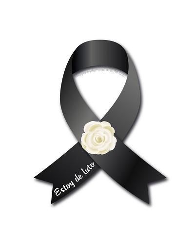lazo de luto negro con flor blanca