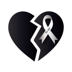 corazon partido con lazo de luto