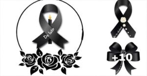 moños de luto negro con rosas