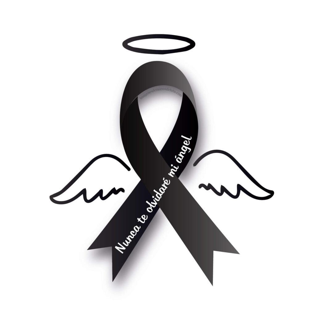 lazos de luto con alas angelito bebe