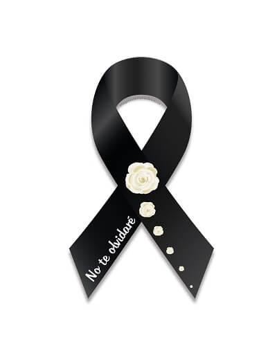 lazo de luto y rosas no te olvidare
