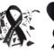 lazos de luto con corazones
