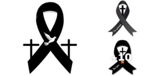 lazos de luto con cruz