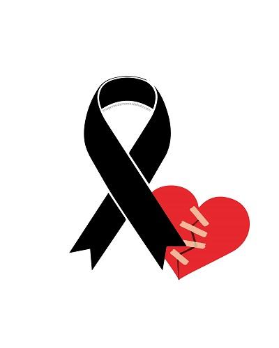 lazo de luto con corazon rojo