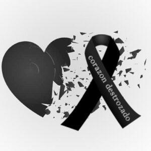 corazon destrozado con lazo de luto
